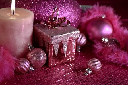 Pink festive holiday decorations Stock Photo - 16510217