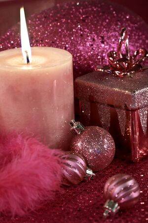 Pink Christmas holiday decorations Stock Photo - 16510196