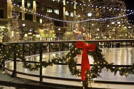 2012 Streets of Southglenn Tree Lighting Ceremony Cube Ice Rink, with lights and wreath