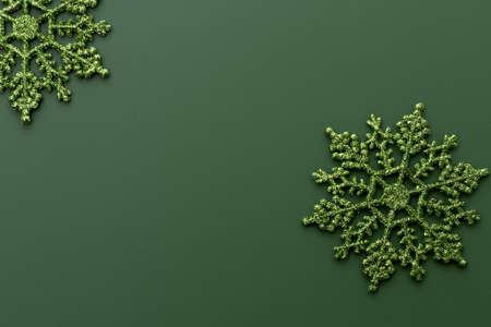 shiney: 2 green glitter snowflakes on dark green background