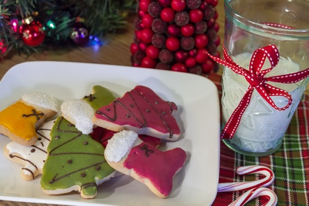 Christmas cookies on a white plate and 2 candy canes on a festive holiday napkin photo