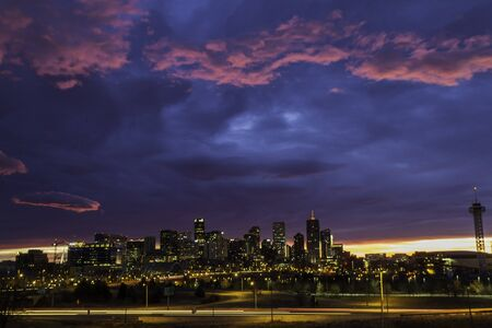 Colorful dramati winter sunrise of Denver Colorado skyline photo