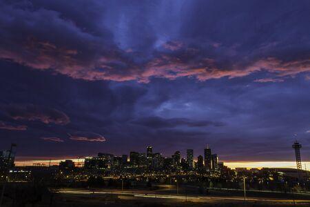 denver at sunrise: Gorgeous colorful sunrise over Denver skyline in December