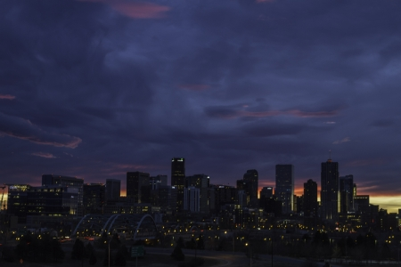 Dramatic colorful sunrise over the city of Denver in December photo