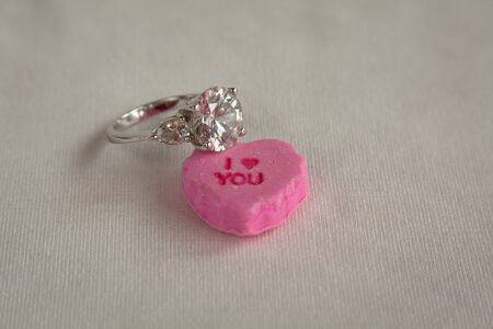 I love you candy heart with diamond ring for Valentine proposal photo