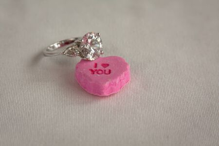 I love you candy heart with diamond ring for Valentine proposal Imagens