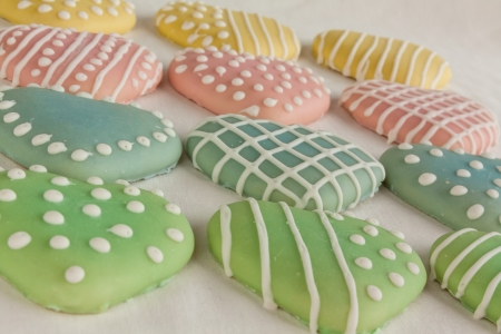 confections: Valentine heart cookies decorated with pastel icing