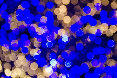 Bright blue and white lights bokeh