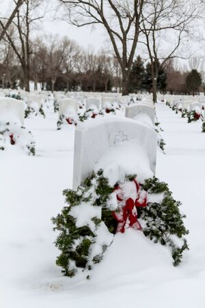 2012 Wreaths Across America at Fort Logan National Cemetery Colorado Stock Photo - 17044833