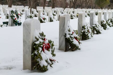 2012 Wreaths Across America at Fort Logan National Cemetery Colorado Stock Photo - 17044837