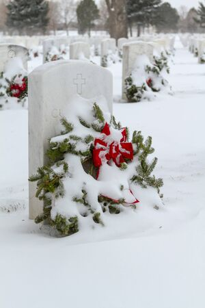 2012 Wreaths Across America at Fort Logan National Cemetery Colorado Stock Photo - 17044827