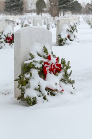 2012 Wreaths Across America at Fort Logan National Cemetery Colorado Stock Photo - 17044826
