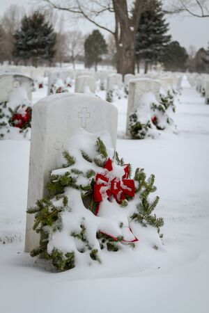 2012 Wreaths Across America at Fort Logan National Cemetery Colorado Stock Photo - 17044832