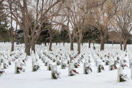 2012 Wreaths Across America at Fort Logan National Cemetery Colorado Stock Photo - 17044847