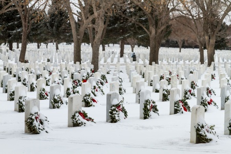 2012 Wreaths Across America at Fort Logan National Cemetery Colorado Stock Photo - 17044844