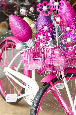 cruiser bike: Christmas decorated pink and white bike