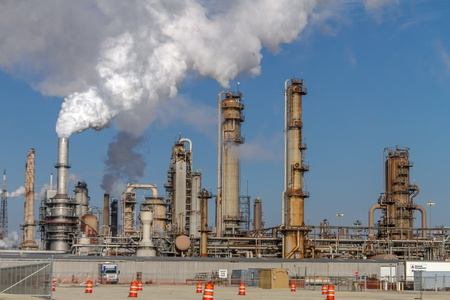 Air pollution from Chicago Petroleum Oil Production Plant near Illinois Michigan Canal Stock Photo - 17175950