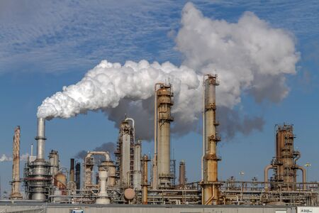 Air pollution from Chicago Petroleum Oil Production Plant near Illinois Michigan Canal