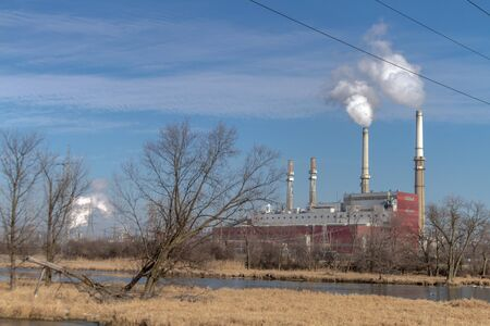Air pollution from Chicago Petroleum Oil Production Plant near Illinois Michigan Canal Stock Photo - 17175952