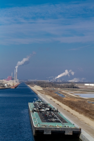Air pollution from Chicago Petroleum Oil Production Plant near Illinois Michigan Canal Stock Photo - 17175982