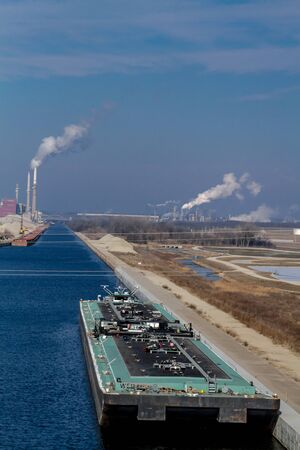 Air pollution from Chicago Petroleum Oil Production Plant near Illinois Michigan Canal Stock Photo - 17175957