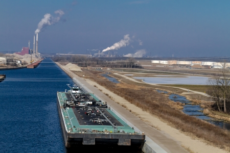 Air pollution from Chicago Petroleum Oil Production Plant near Illinois Michigan Canal Stock Photo - 17175984