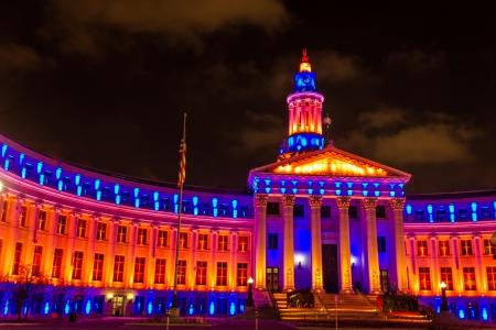2013 Denver City and County Building special lighting in Denver Broncos orange and blue for the 2013 NFL Playoffs