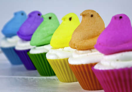 Colorful Easter cupcakes with Easter marshmallow chicks arranged in a rainbow photo