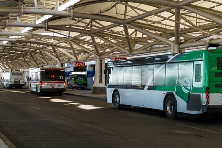 drop off: Car rental buses drop off and pickup at Denver International Airport