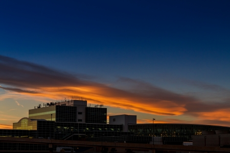 Dramatic sunset over Terminal A at Denver International Aiport