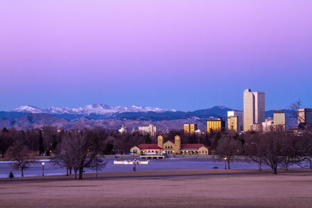 denver city park: Denver Colorado skyline at sunrise, during winter, from City Park and Denver Museum of Science and Nature