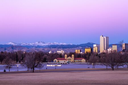 Denver Colorado skyline at sunrise, during winter, from City Park and Denver Museum of Science and Nature Stock Photo - 17503211