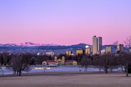 Denver Colorado skyline at sunrise, during winter, from City Park and Denver Museum of Science and Nature Stock Photo - 17503273