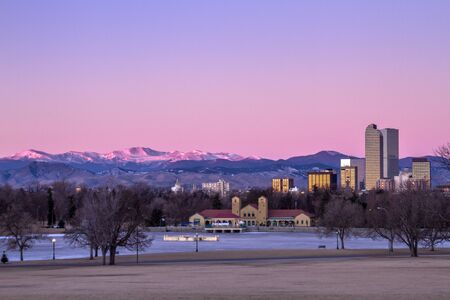 Denver Colorado skyline at sunrise, during winter, from City Park and Denver Museum of Science and Nature Stock Photo - 17503232