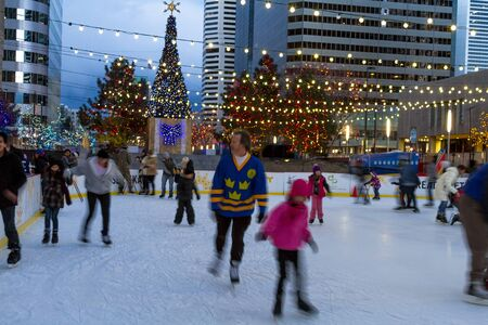 Winter Ice Skating at Skyline Park in dowtown Denver Colorado