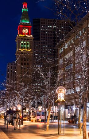 16th street mall: Christmas decorations on the 16th Street Mall in Denver Colorado Editorial