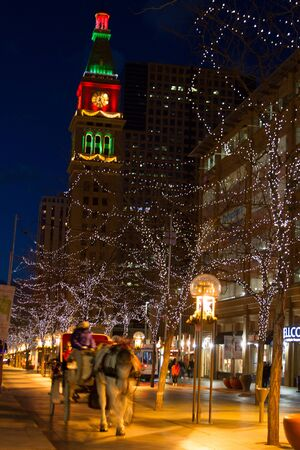 christmas in denver: Downtown Denver 16th Street Mall decorated for Christmas