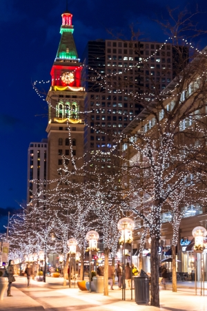 Downtown Denver 16th Street Mall decorated for Christmas Stock Photo - 17523592