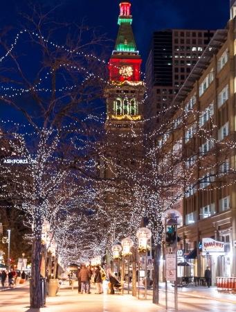 denver at christmas: Denver Colorado 16th Street Mall decorated with Christmas Lights