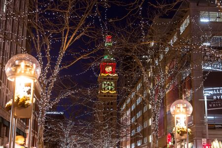 christmas in denver: D&F Tower on the 16th Street Mall in downtown Denver Colorado decorated for Christmas