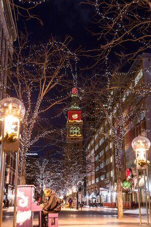 16th Street Mall in downtown Denver, decorated for Christmas