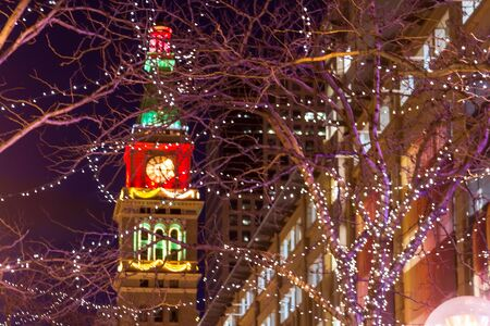 Denver 16th Street Mall decorated with Christmas lights Stock Photo - 17523582