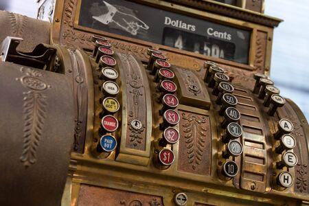 Antique cash register from the front