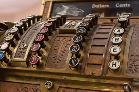 Front view of old time cash register