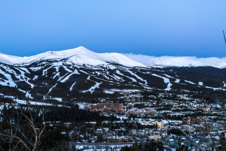 Sunrise view of Breckenridge Ski Area in Colorado Rocky Mountains