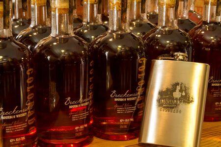Rows of Breckenridge bourbon whiskey bottles at Breckenridge Distillery