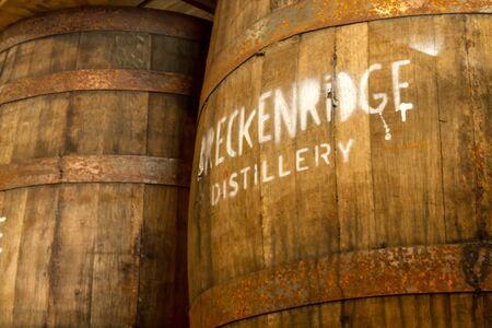 Whiskey oak storage barrels at Breckenridge Distillery