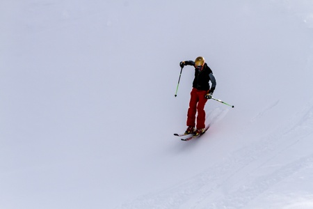moguls: Male skier in fresh powder on moguls at Ski Days during 50 Year Steamboat Springs winter celebration