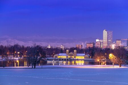 Denver Colorado skyline at sunrise, day after snow storm in winter, from City Park and Denver Museum of Science and Nature Stock Photo - 18062986