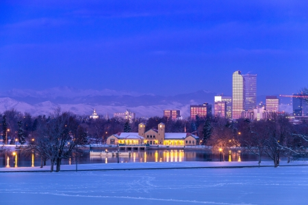 Denver Colorado skyline at sunrise, day after snow storm in winter, from City Park and Denver Museum of Science and Nature photo